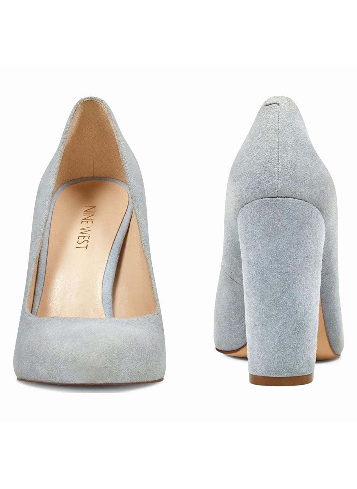 e7e0fa2fe6938 Nine West Kadın Kalın Topuklu %100 Süet Ayakkabı Açık Mavi Gerçek ...